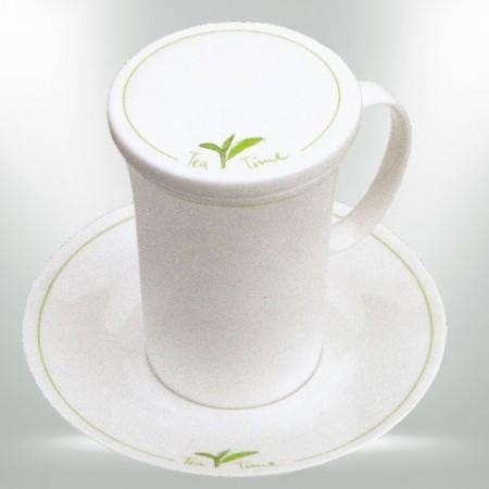 Teetasse  mit Unterteller und Deckel aus feinem Bon China Porzellan