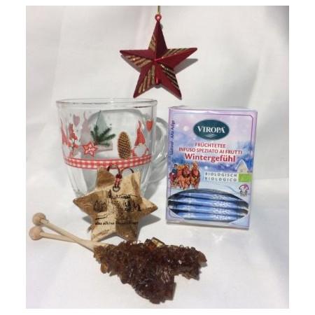 Aktion Teeglas mit Weihnachtsmotiv