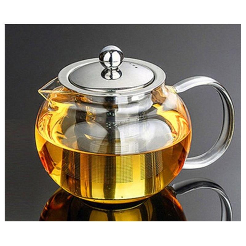 Glas Teekanne mit Teesieb und Deckel...