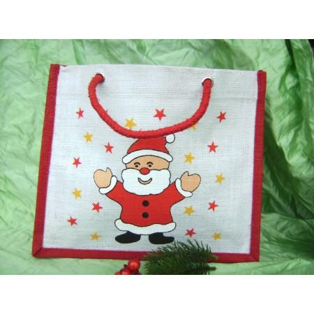Jute Tasche mit Sichtfenster und Weihnachtsdekoration