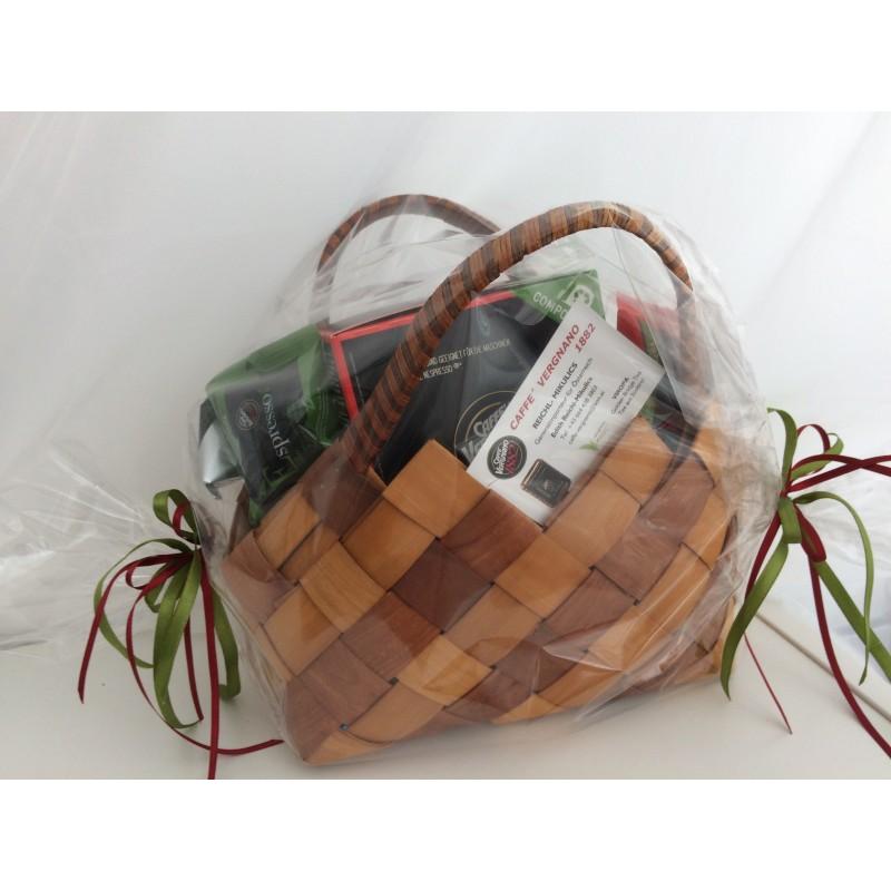 Geschenkpackung Tasche mit Kaffeekapseln und Kaffeepads